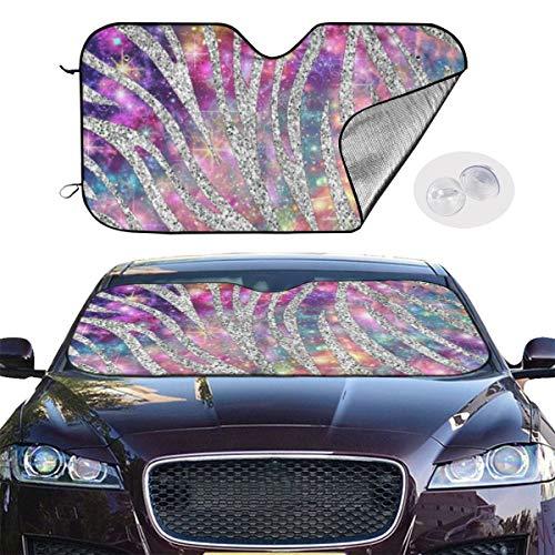 Car Windshield Sun Shade UV Sun Heat Reflector Visor Protector Front Window Sunshade-Sequined Star Zebra Pattern