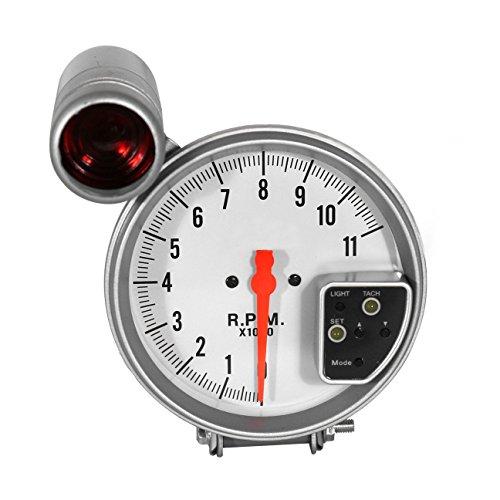 DEALSPLAZA 5'' inch 7 color LED 11K 12V Electronical RPM Tachometer Rev Counter Gauge With Red Shift Light WHITE Face Universal compatible 11000 Sport Meter Kit Car White by Dealsplaza (Image #1)