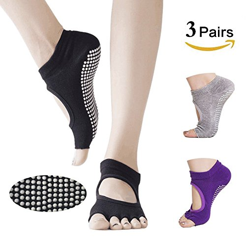 Yoga Socks Dancing Yoga Pilates Socks for Women, Toeless, Sticky, Non Slip&Non Skid Socks, Comfortable & Breathable with Cotton for Yoga, Dance, Pilates, Barre, Ballet, Bikram and GYM (3 Pairs)