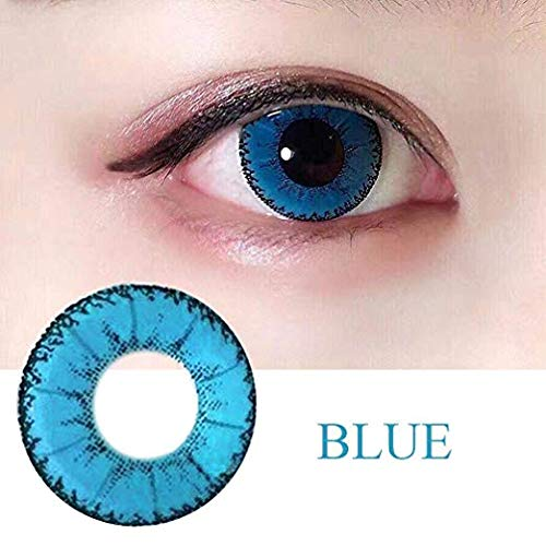Oanono Multi-Color Cute Contact Lenses Color Blends Cosplay Eyes Cosmetic Makeup Eye Shadow With a Case (A - Contacts For Eyes Blue
