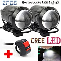 GOODKSSOP 2PCS Super Bright Fisheye Lens Cree U1 LED Motorcycle Electric Bike Universal Spotlight Headlight Work Driving Fog Light Spot Lamp Night Safety + 1 pcs Free Switch