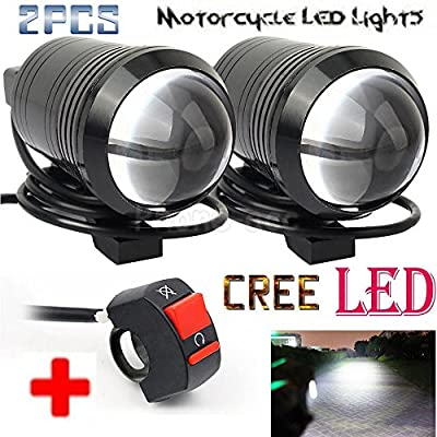 GOODKSSOP 2PCS Super Bright Fisheye Lens Cree U1 LED Motorcycle Electric Bike Universal Spotlight Headlight Work Driving Fog Light Spot Lamp Night Safety + 1 pcs Free Switch