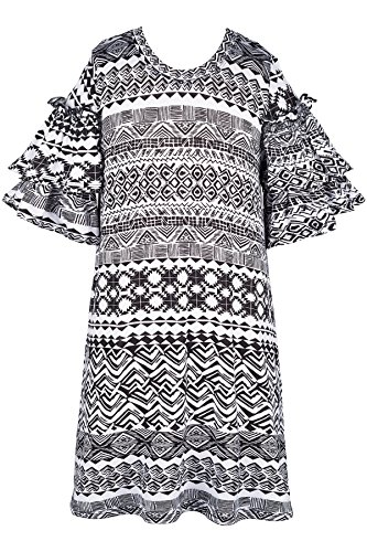 Truly Me A-line Smocked Double Ruffles Dress 7-16 (Black Multi - 7)