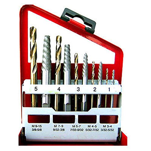 Power Tools 10pc Screw Extractor | Right Hand Cobalt Drill Bit Set Easy Out Broken Bolt