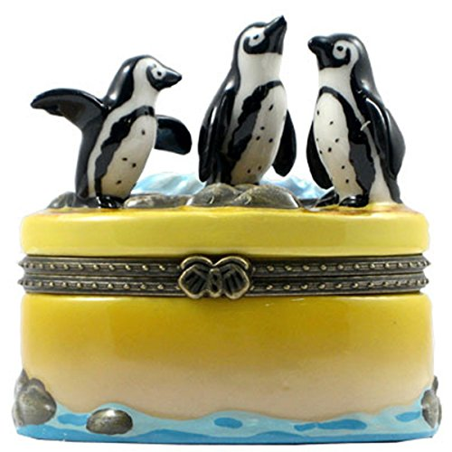 (TL Products Black Footed African Penguins Porcelain Hinged Trinket Box )
