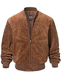 Mens Leather Baseball Bomber Jacket Vintage Suede Pigskin