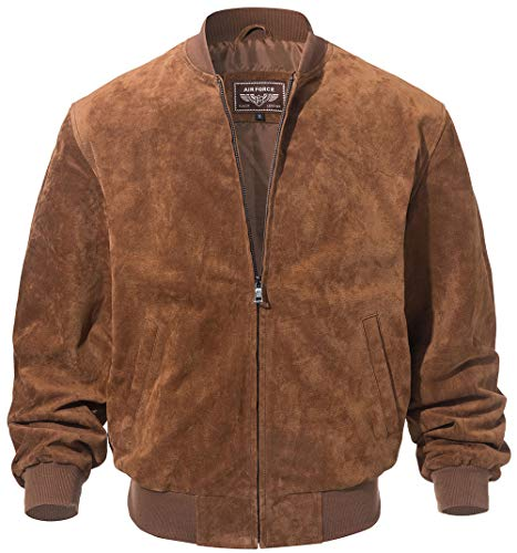 FLAVOR Men's Leather Baseball Jacket Vintage Suede Pigskin (XX-Large, ()