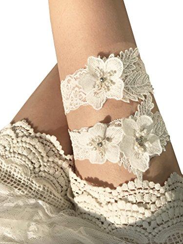 YuRong Bridal Garter Set Pearls Garter Set Wedding Rhinestone Garter Set G30 (Ivory)]()