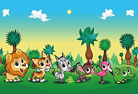 Leowefowa 8x6ft Fairy Forest Backdrop Vinyl Photography Background Cute Cartoon Animals Hunting Party Baby Room Indoor
