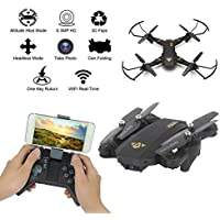RC Quadcopter Helicopter Mini Drone Folding Fixed Height RC Dron Visuo XS809W SX809HW Mini Foldable Selfie Drone with Wifi FPV 0.3MP 2MP Camera Aerial (C:200w+Altitude Hold)