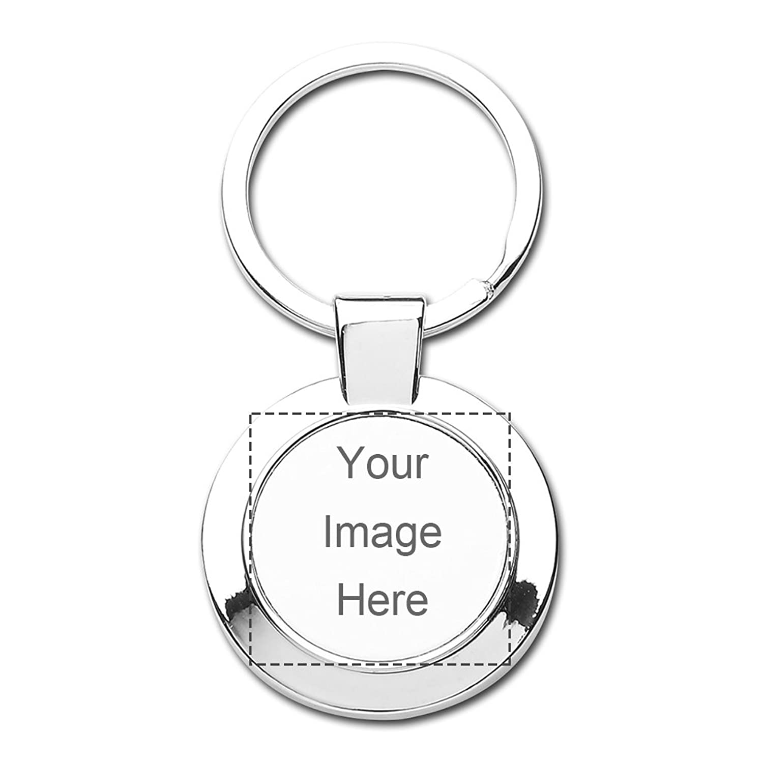 Design Prinablet photo or text Keychains Custom Personalized Round Keychain Set