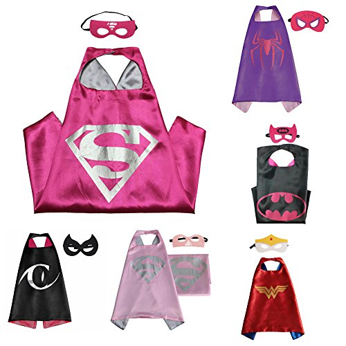 6 Set Superhero Costumes - Capes and Masks with Gift Box by Superheroes (Easy Super Hero Costumes)