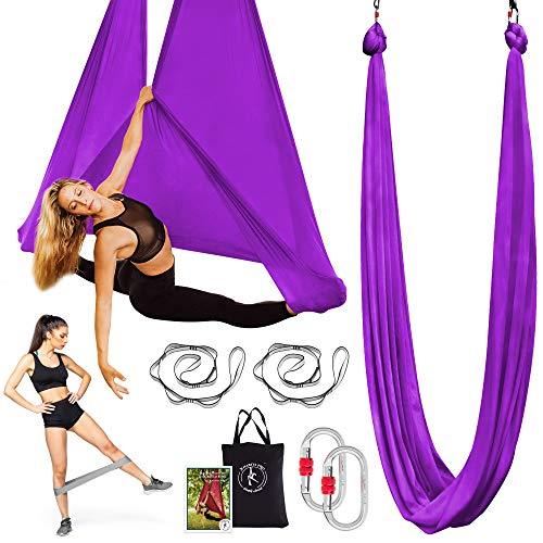 X Habits Pro Premium Aerial Yoga Hammock - Aerial Yoga Swing Set - Antigravity Aerial Silks - Flying Yoga Sling Inversion Equipment - Hardware Included, Resistance Band, Manual and Tote Bag