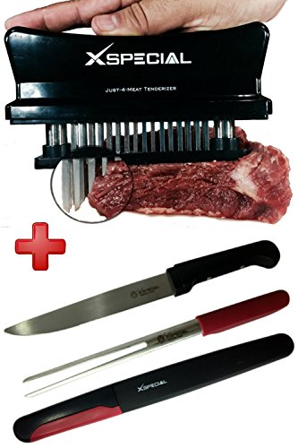 COOKING GIFT SET > Meat Knife & Fork Set + Just 4 Meat Tenderizer Tool - Best Professional Stainless Steel Gadgets For Tenderizing & Slicing Meats (1 Black 48 Needles Tenderizers/ 1 BBQ Knife & Fork)
