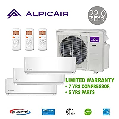 AlpicAir +Multi Tri-Zone Ductless Mini-Split System 27,000 BTU Inverter Heat Pump (9k+9k+12k)