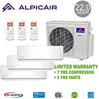 AlpicAir +Multi Tri-Zone Ductless Mini-Split System 27,000 BTU Inverter Heat Pump (9k+9k+9k)
