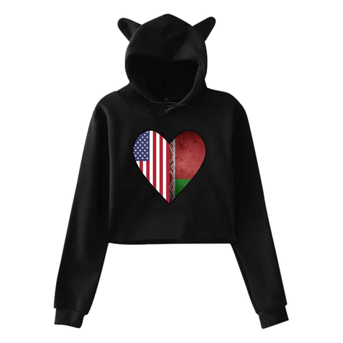Girls Short Hoodies Crop Top,Half Belarus Flag Half USA Flag Love Heart Cat Ear Long Sleeve Hoodie Tops Blouse