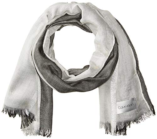 Calvin Klein Women's Chambray Colorblock Scarf, Black, One Size