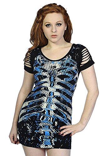 Top Kleid Schwarz mit Aufdruck Skelett weiß und blau Ärmel Offene ...
