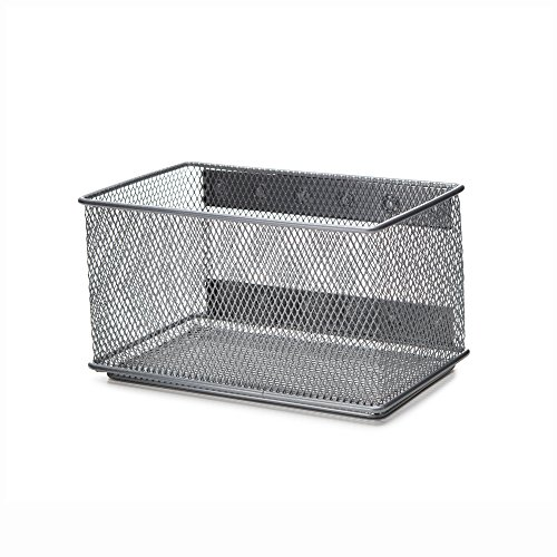 Ybmhome Wire Mesh Magnetic Storage Basket, Trash Caddy, Container, Desk Tray, Office Supply Organizer Silver for Refrigerator/Microwave Oven or Magnetic Surface in Kitchen or Office 2457 (1, Medium) (Table Refrigerator Stainless Steel)