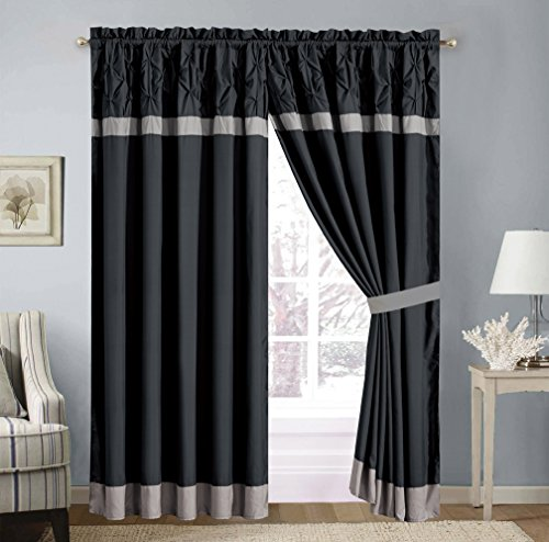 4 Piece Solid Black Pinch Pleat Curtain set with attached Valance and Sheers
