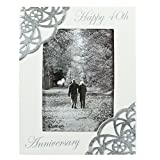 Happy 40th Anniversary White Silver Scroll Design 5x7 Resin Stone Picture Frame