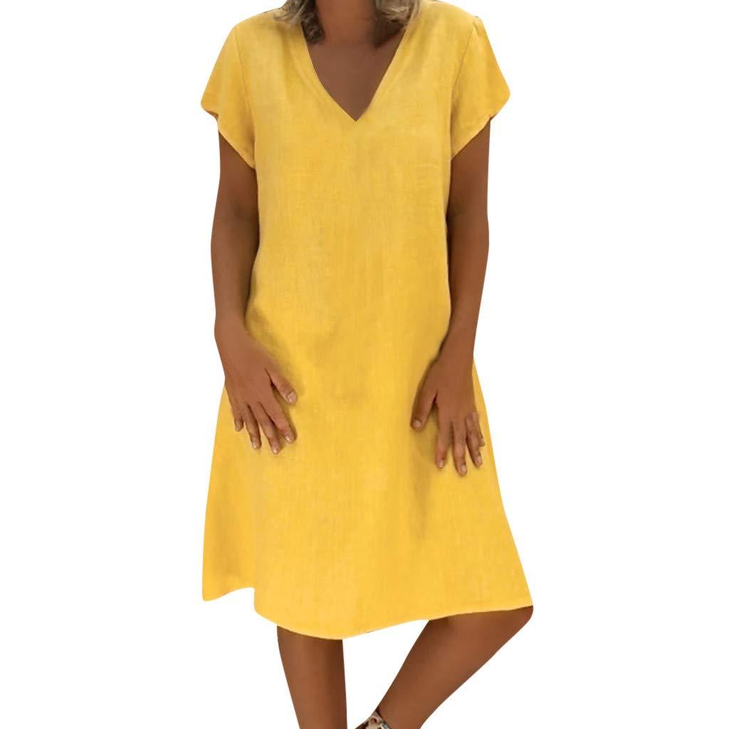 Womens Vintage Linen Dresses Solid Casual Loose Short Sleeve V-Neck Summer Dress,(S-5XL) (XXXXXL, Yellow)