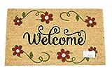 Home Garden Hardware 37205 Welcome Flower Printed Coir Doormat,Natural,Small