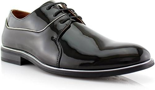 Jaime Aldo Mens 19560PL Patent Leather Formal Lace Up Round Toe Dress Shoes