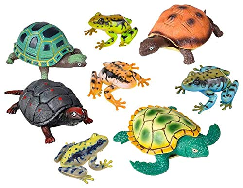 (LightShine Products 8 Piece Medium and Large Sized Stretch Turtles and Frogs Toy Animal Figures Bundle)