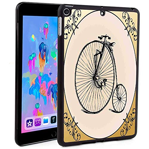 Auto Sleep/Wake Lightweight Stand Case, Hard Back Cover,Retro Big and Small Tired Bicycle on A Vintage Round Framed Floral Background Boho Print 2019 New iPad Mini 5 7.9