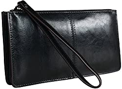 Heshe Womens Zippered Clutch Credit Card Holder Long Wallets with Wristlet (Black)