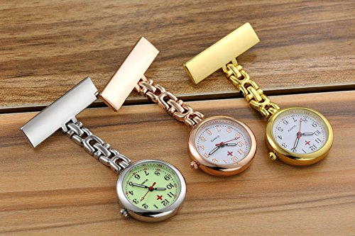 (Pack of 3) Women's Fob Watch with Quartz Movement Clip Pin Brooch Hanging Pocket Watch by autulet (Image #1)
