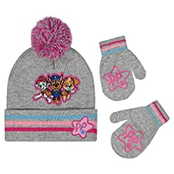 Nickelodeon Girls Winter Hat and Mittens Set, Paw Patrol Skye Toddler Beanie for Kids Age 2-4