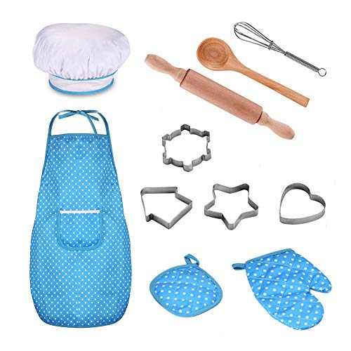 DIY Cooking and Baking Set for Kids, 11pcs Chef Dress Up Role Play Toys for 3 Years and Up, Apron, Chef Hat, Oven Mitt, Wooden Spoon, Biscuit Cutters Included