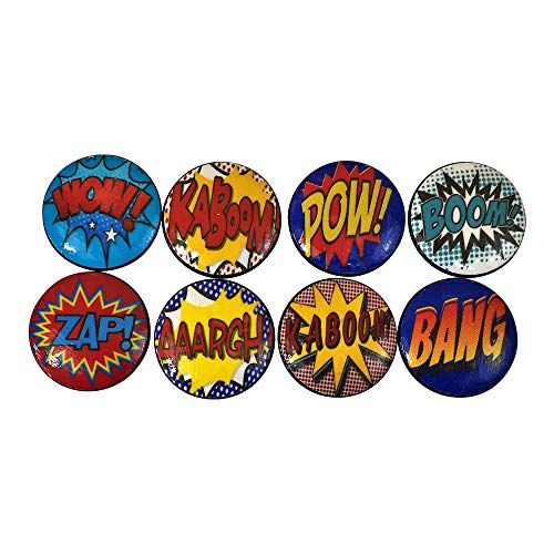 Set of 8 Primary Comic Book Action Cabinet Knobs (Superhero Dresser)