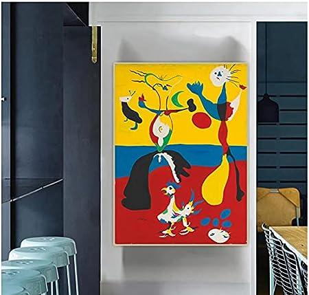 WSTDSM Lienzo Pintura Al Óleo Joan Miro El Granjero Y Su Esposa Surrealismo Estético Telón De Fondo Arte De La Pared Decoración De La Habitación del Hogar-24X36 Pulgadas X1 Sin Marco