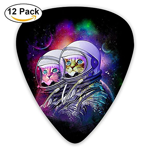 Miniisoul Cool Celluloid Guitar Picks Space Cat Costume Art Stylish Guitar Accessories 12 Pack For Acoustic, Electric, Original And Bass Guitars -