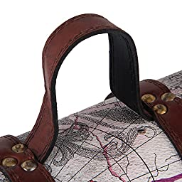 BQLZR Vintage Look Brown Wood and Leather Wine Box Two Bottle Wine gift box and Case Treasure Map Pattern