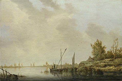 'Aelbert Cuyp A River Scene With Distant Windmills ' Oil Painting, 16 X 24 Inch / 41 X 61 Cm ,printed On Perfect Effect Canvas ,this High Quality Art Decorative - Printed Custom Highlighters