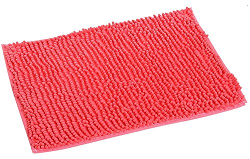 "KSDN Non Skid Bath Rug Shaggy,Chenille Ultra Soft Microfiber Shower Safety Protection Mat,Water Absorbent Quick Dry Mat for Floor Kitchen Entrance Coral 15""x27"""