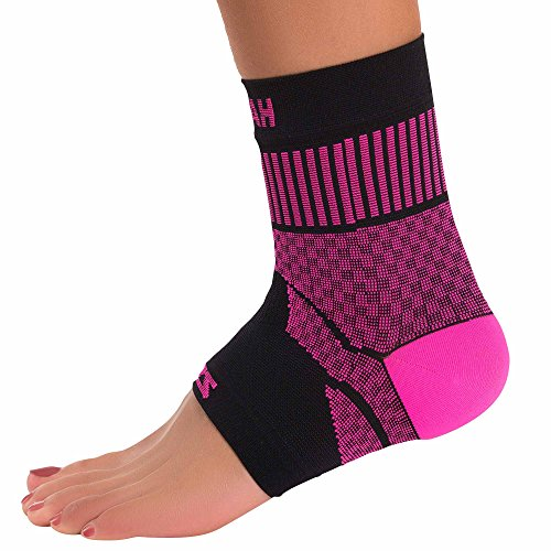 Zensah Ankle Support – Compression Ankle Brace – Great for Running, Soccer, Volleyball, Sports – Ankle Sleeve Helps Sprains, Tendonitis, Pain, Neon Pink, Medium