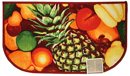 Kashi Home Kitchen Rug, Area Rug, Mat, Carpet, Non-Skid Latex Back (18x30 D-Shape, Pineapple)
