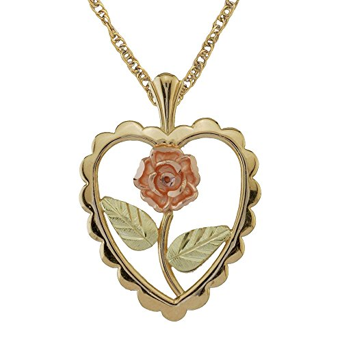 Black Hills Gold Rose Heart Pendant Necklace