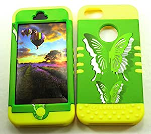 SHOCKPROOF HYBRID CELL PHONE COVER PROTECTOR FACEPLATE HARD CASE AND YELLOW SKIN WITH STYLUS PEN. KOOL KASE ROCKER FOR APPLE IPHONE 5 5S BUTTERFLIES YE-TE574