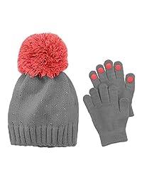 Girls 4-16 Rhinestone Hat & Gloves Set Gray