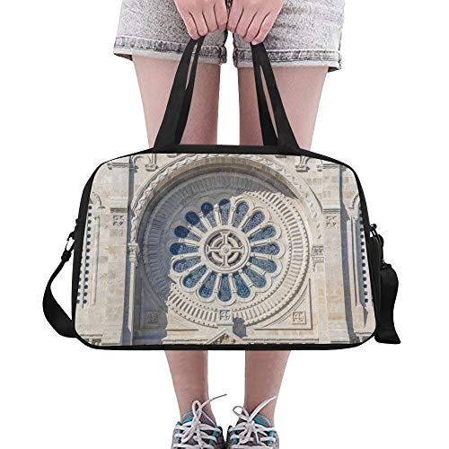 (Tote Bags Romantic Charming Rose Window Useful Gym Tote Comfortable Duffel Fitness Duffel For Teen Boy Sport Ballet Swimming School Bag With Shoe Pounch)