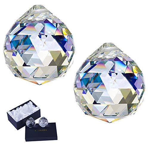 KARSLORA Clear Glass Crystal Ball Prism Rainbow Maker Feng Shui Lamp Hanging Drop Chandelier Pendants Window Suncatchers 40mm Pack of 2