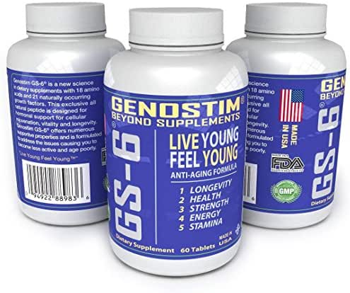 GENOSTIM GS-6® Accelerated Cellular Recovery - Natural Anti-Aging Protein Peptide Supplement - 60 Tablets