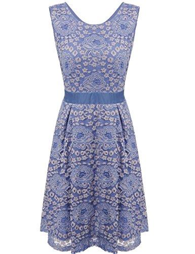 Zeagoo Women Sleeveless Full Zip Back Short Lace Cocktail Dress Blue XL